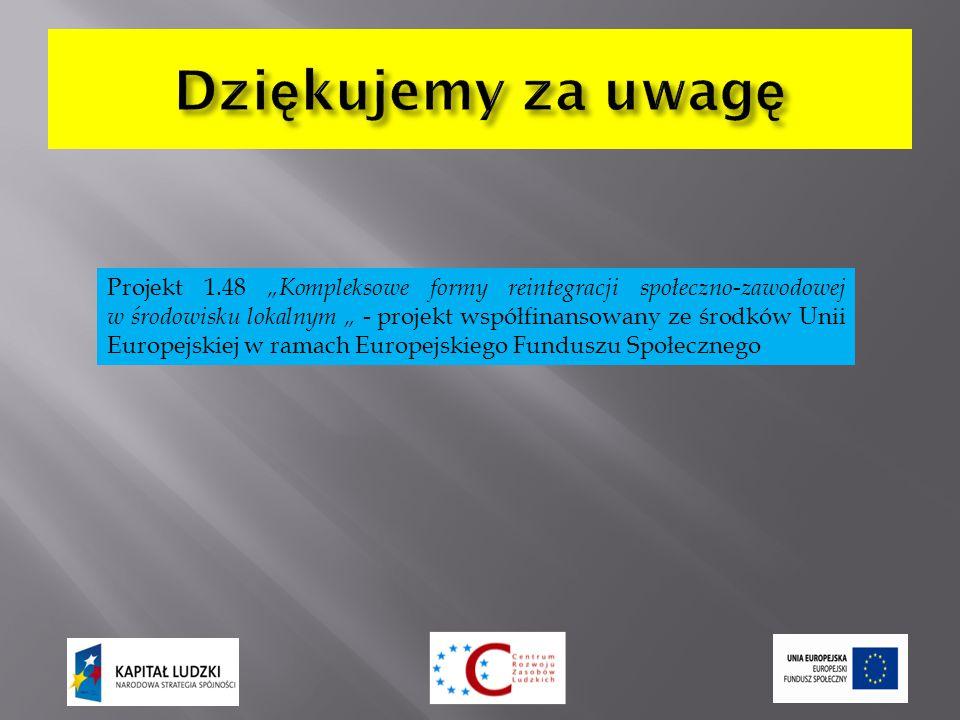 """Projekt 1.48 """"Kompleksowe formy reintegracji społeczno-zawodowej w środowisku lokalnym """" - projekt współfinansowany ze środków Unii Europejskiej w ramach Europejskiego Funduszu Społecznego"""