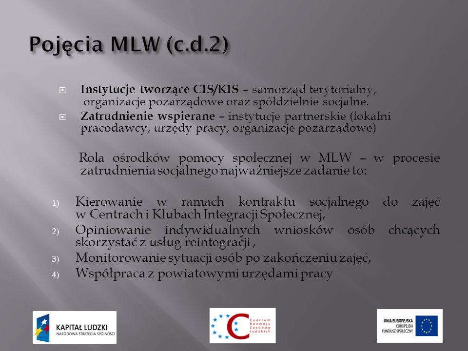  Instytucje tworzące CIS/KIS – samorząd terytorialny, organizacje pozarządowe oraz spółdzielnie socjalne.