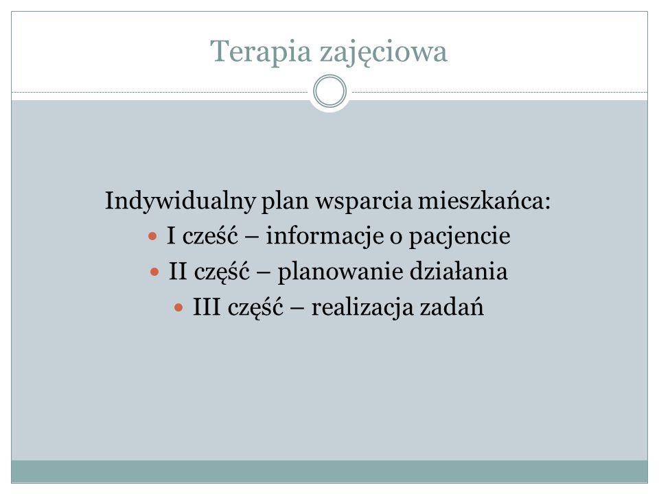 Terapia zajęciowa Indywidualny plan wsparcia mieszkańca: I cześć – informacje o pacjencie II część – planowanie działania III część – realizacja zadań