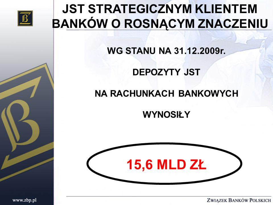 JST STRATEGICZNYM KLIENTEM BANKÓW O ROSNĄCYM ZNACZENIU WG STANU NA 31.12.2009r.
