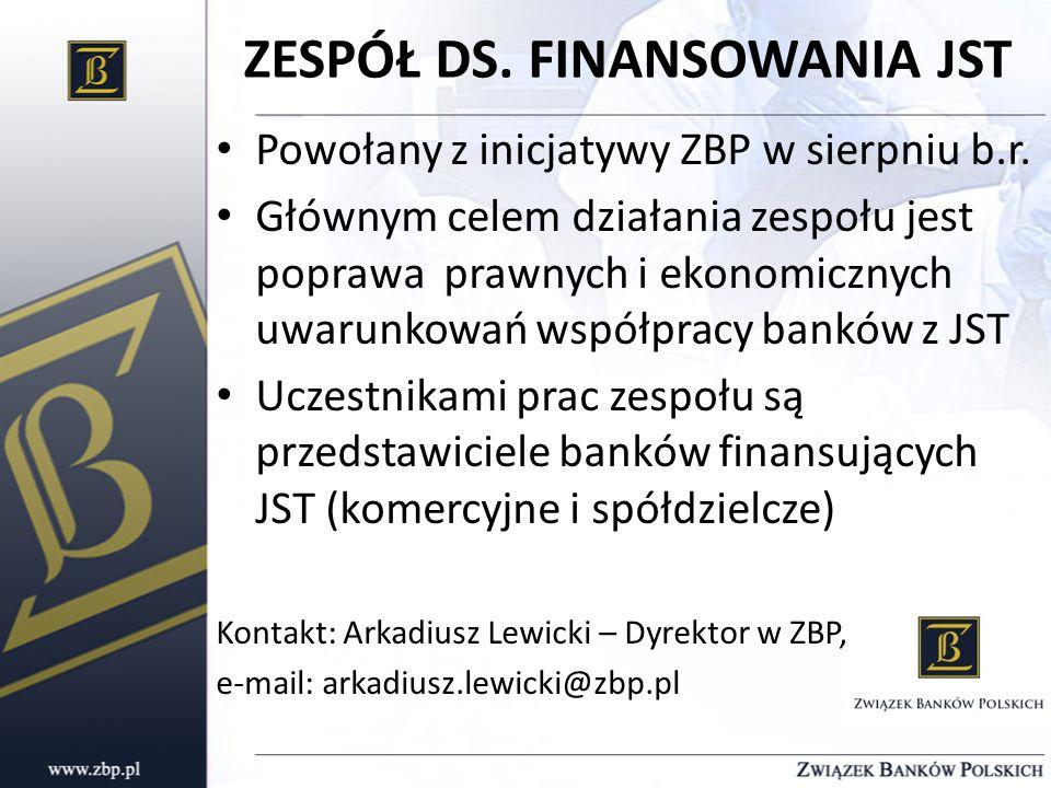 ZESPÓŁ DS. FINANSOWANIA JST Powołany z inicjatywy ZBP w sierpniu b.r.
