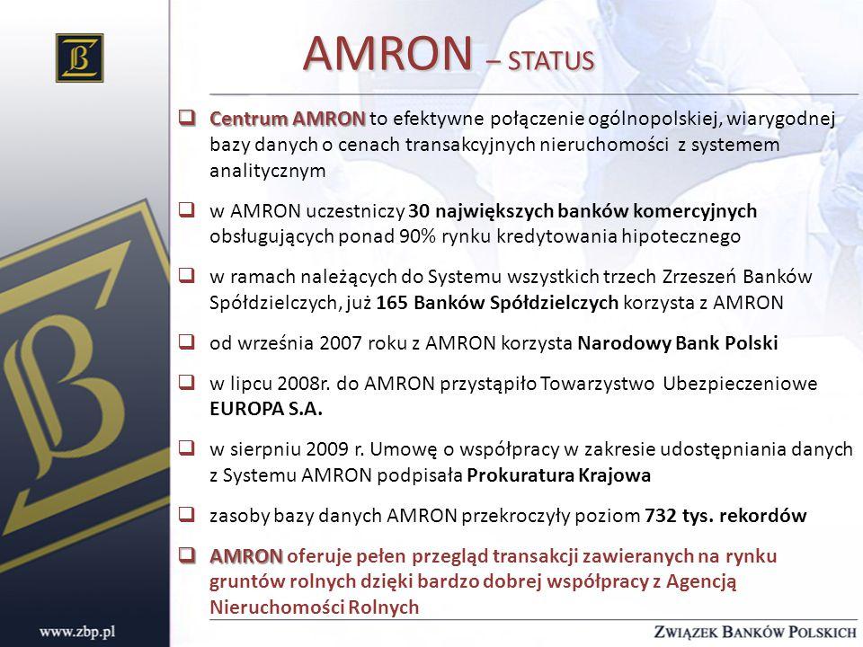 AMRON – STATUS  Centrum AMRON  Centrum AMRON to efektywne połączenie ogólnopolskiej, wiarygodnej bazy danych o cenach transakcyjnych nieruchomości z systemem analitycznym  w AMRON uczestniczy 30 największych banków komercyjnych obsługujących ponad 90% rynku kredytowania hipotecznego  w ramach należących do Systemu wszystkich trzech Zrzeszeń Banków Spółdzielczych, już 165 Banków Spółdzielczych korzysta z AMRON  od września 2007 roku z AMRON korzysta Narodowy Bank Polski  w lipcu 2008r.