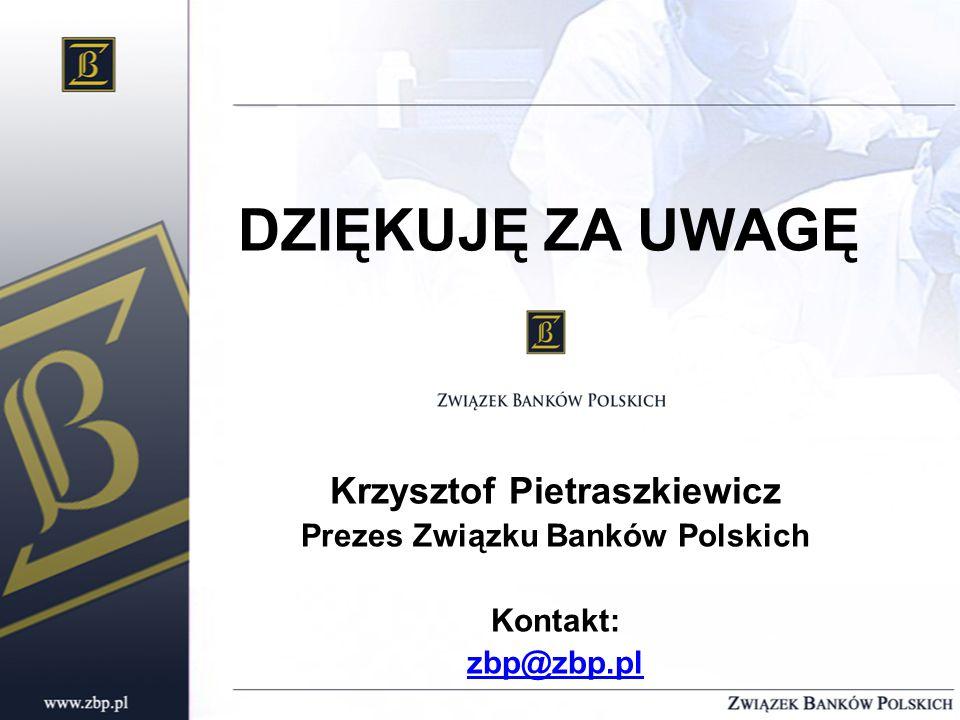 DZIĘKUJĘ ZA UWAGĘ Krzysztof Pietraszkiewicz Prezes Związku Banków Polskich Kontakt: zbp@zbp.pl