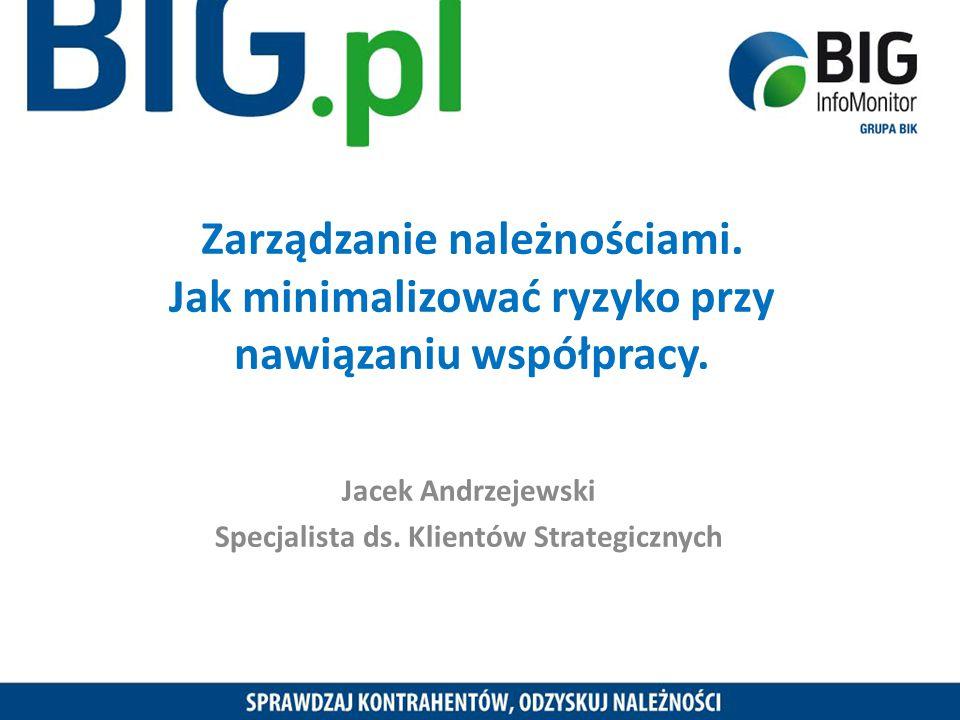Zarządzanie należnościami. Jak minimalizować ryzyko przy nawiązaniu współpracy. Jacek Andrzejewski Specjalista ds. Klientów Strategicznych