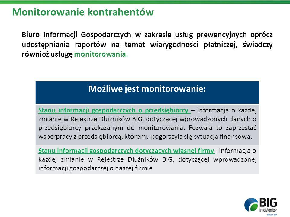Monitorowanie kontrahentów Biuro Informacji Gospodarczych w zakresie usług prewencyjnych oprócz udostępniania raportów na temat wiarygodności płatnicz