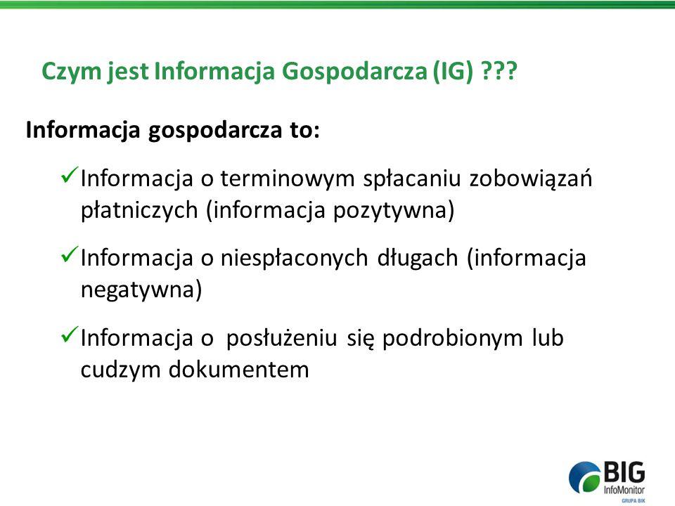 Czym jest Informacja Gospodarcza (IG) ??? Informacja gospodarcza to: Informacja o terminowym spłacaniu zobowiązań płatniczych (informacja pozytywna) I