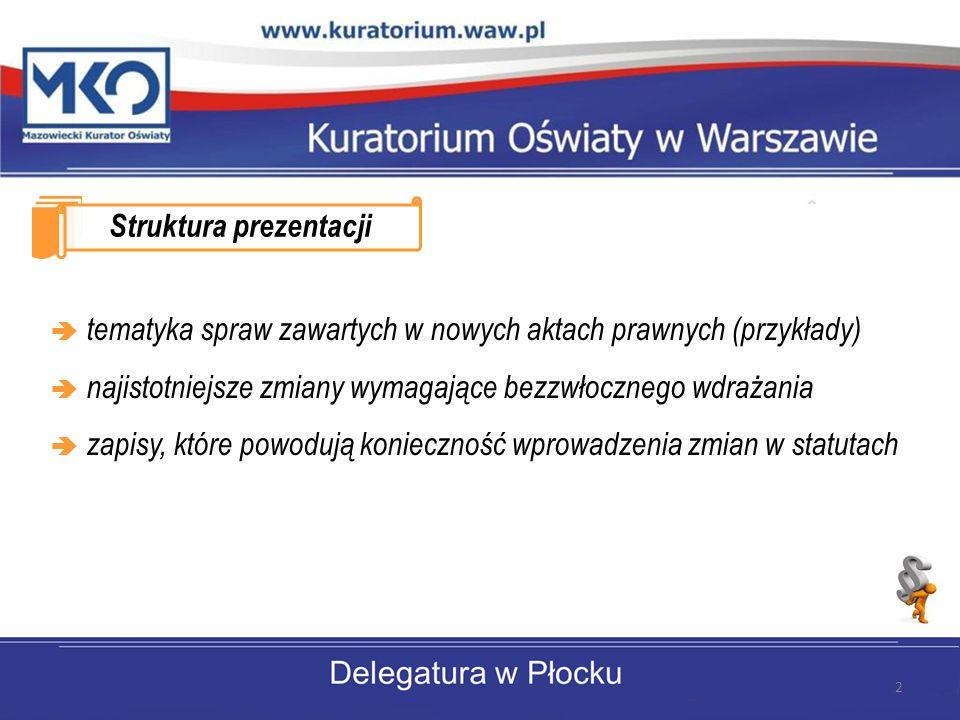 Struktura prezentacji  tematyka spraw zawartych w nowych aktach prawnych (przykłady)  najistotniejsze zmiany wymagające bezzwłocznego wdrażania  zapisy, które powodują konieczność wprowadzenia zmian w statutach 2