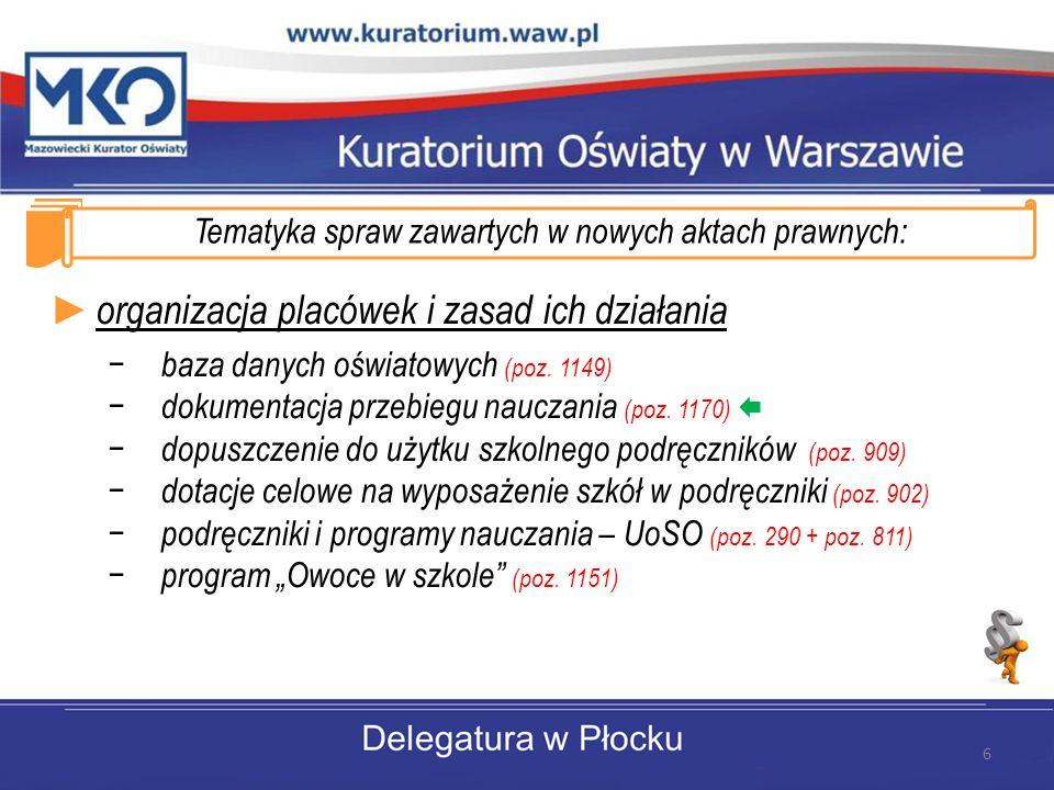 Tematyka spraw zawartych w nowych aktach prawnych: ► organizacja placówek i zasad ich działania − baza danych oświatowych (poz.
