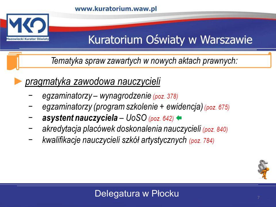 Tematyka spraw zawartych w nowych aktach prawnych: ► pragmatyka zawodowa nauczycieli − egzaminatorzy – wynagrodzenie (poz.