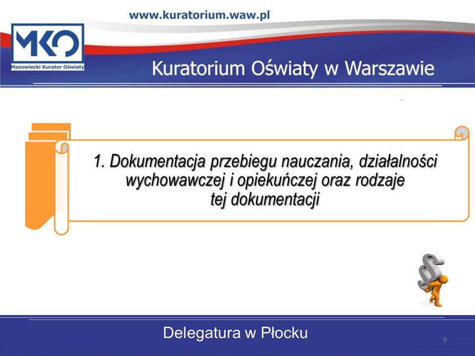1. Dokumentacja przebiegu nauczania, działalności wychowawczej i opiekuńczej oraz rodzaje tej dokumentacji 9