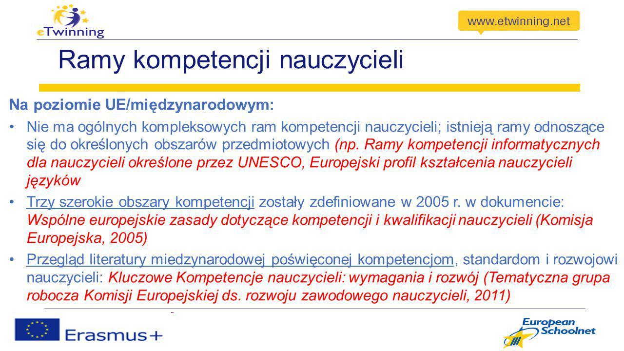 Ramy kompetencji nauczycieli Na poziomie UE/międzynarodowym: Nie ma ogólnych kompleksowych ram kompetencji nauczycieli; istnieją ramy odnoszące się do