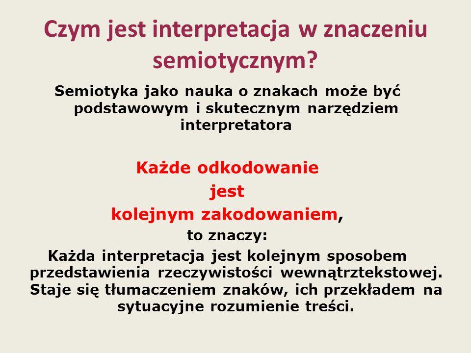 Czym jest interpretacja w znaczeniu semiotycznym? Semiotyka jako nauka o znakach może być podstawowym i skutecznym narzędziem interpretatora Każde odk
