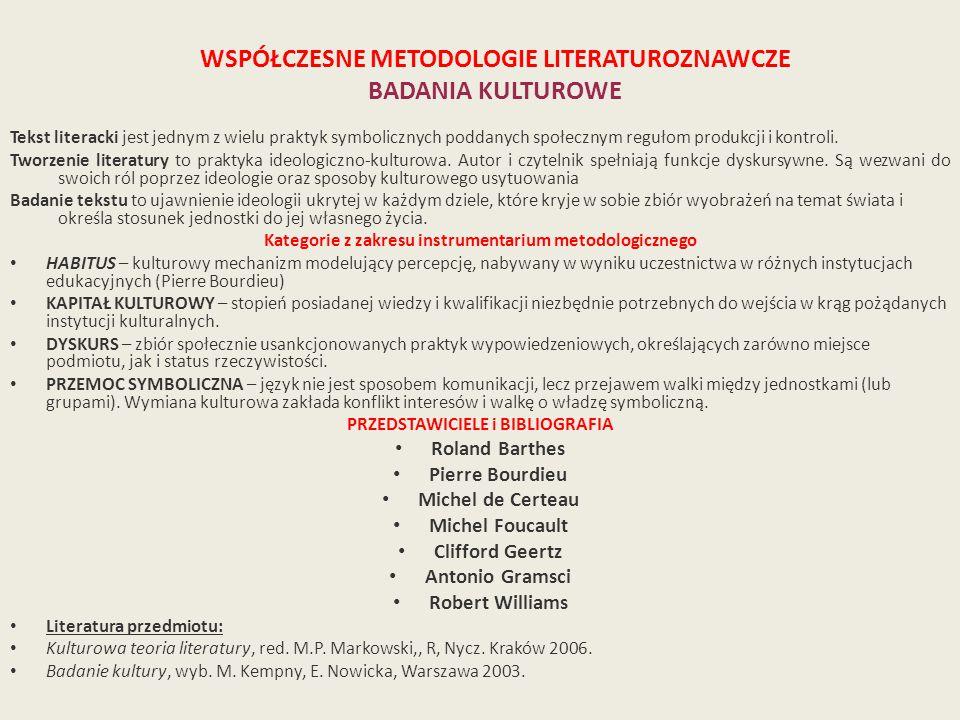 WSPÓŁCZESNE METODOLOGIE LITERATUROZNAWCZE BADANIA KULTUROWE Tekst literacki jest jednym z wielu praktyk symbolicznych poddanych społecznym regułom produkcji i kontroli.