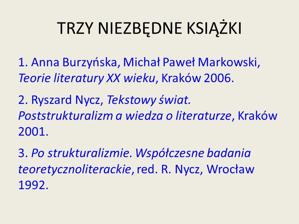 TRZY NIEZBĘDNE KSIĄŻKI 1. Anna Burzyńska, Michał Paweł Markowski, Teorie literatury XX wieku, Kraków 2006. 2. Ryszard Nycz, Tekstowy świat. Poststrukt