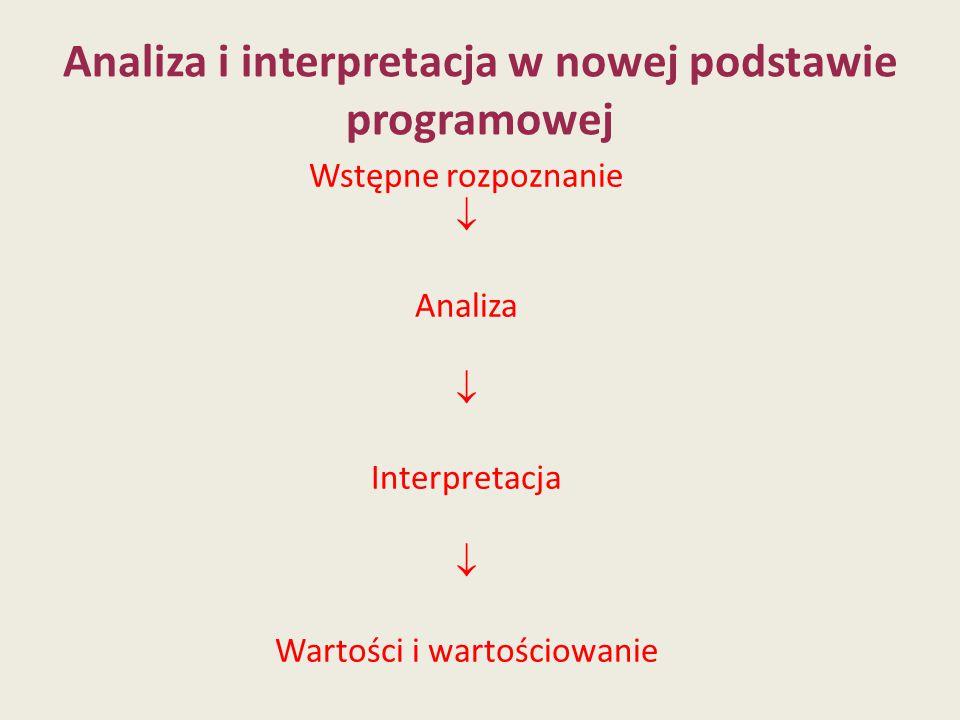 Analiza i interpretacja w nowej podstawie programowej Wstępne rozpoznanie  Analiza  Interpretacja  Wartości i wartościowanie