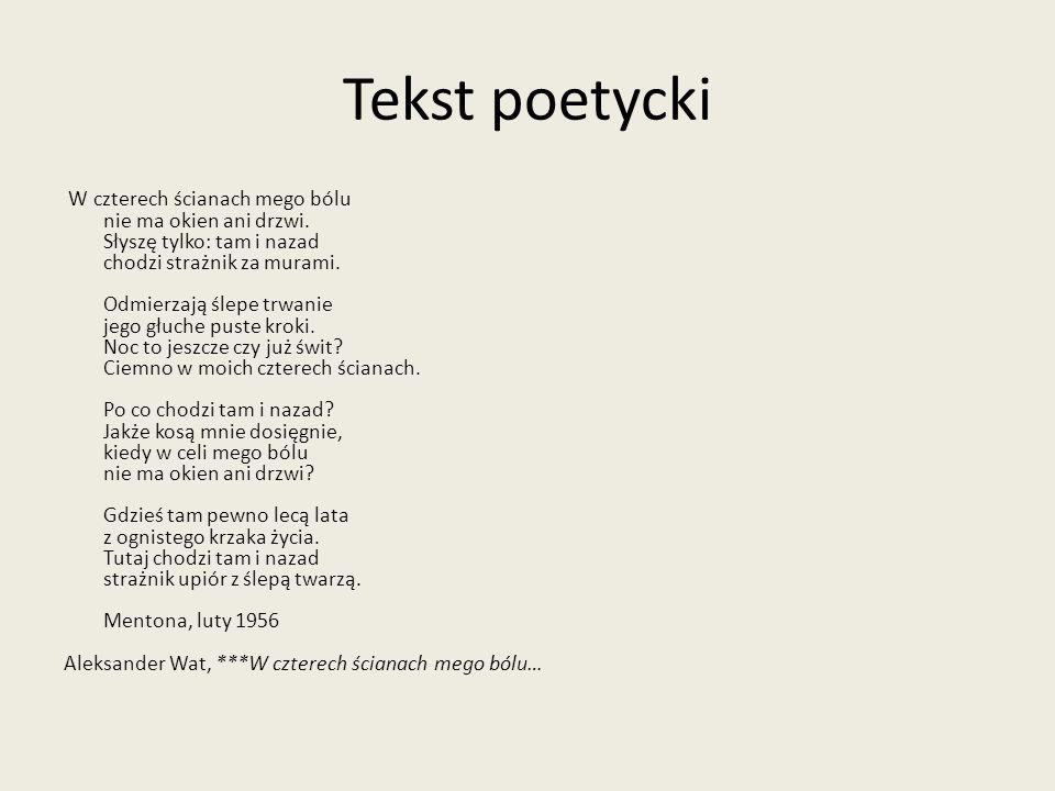 Tekst poetycki W czterech ścianach mego bólu nie ma okien ani drzwi.