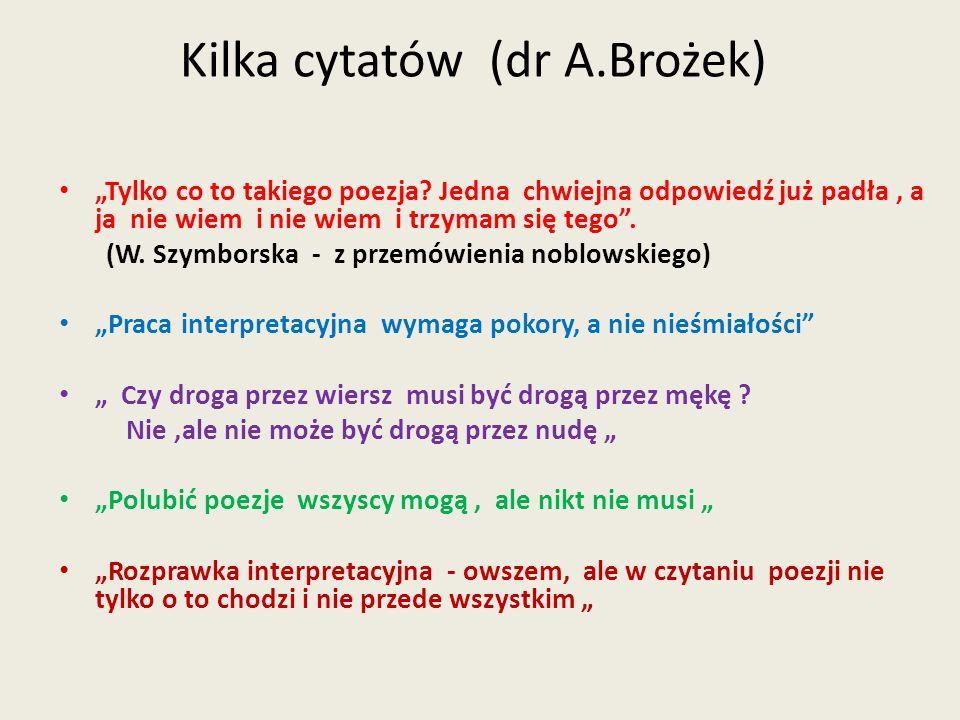 """Kilka cytatów (dr A.Brożek) """"Tylko co to takiego poezja? Jedna chwiejna odpowiedź już padła, a ja nie wiem i nie wiem i trzymam się tego"""". (W. Szymbor"""