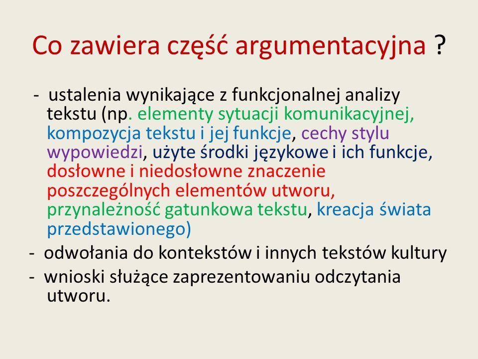 Co zawiera część argumentacyjna ? - ustalenia wynikające z funkcjonalnej analizy tekstu (np. elementy sytuacji komunikacyjnej, kompozycja tekstu i jej