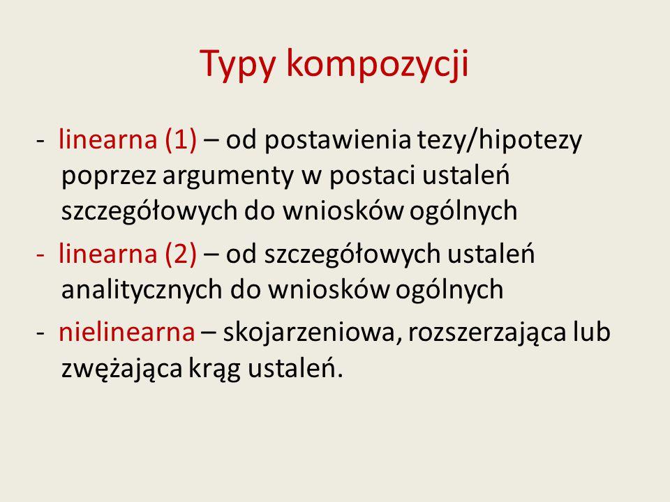 Typy kompozycji - linearna (1) – od postawienia tezy/hipotezy poprzez argumenty w postaci ustaleń szczegółowych do wniosków ogólnych - linearna (2) – od szczegółowych ustaleń analitycznych do wniosków ogólnych - nielinearna – skojarzeniowa, rozszerzająca lub zwężająca krąg ustaleń.