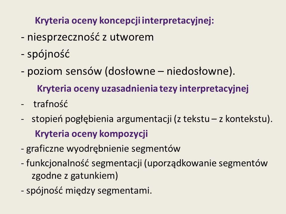 Kryteria oceny koncepcji interpretacyjnej: - niesprzeczność z utworem - spójność - poziom sensów (dosłowne – niedosłowne). Kryteria oceny uzasadnienia