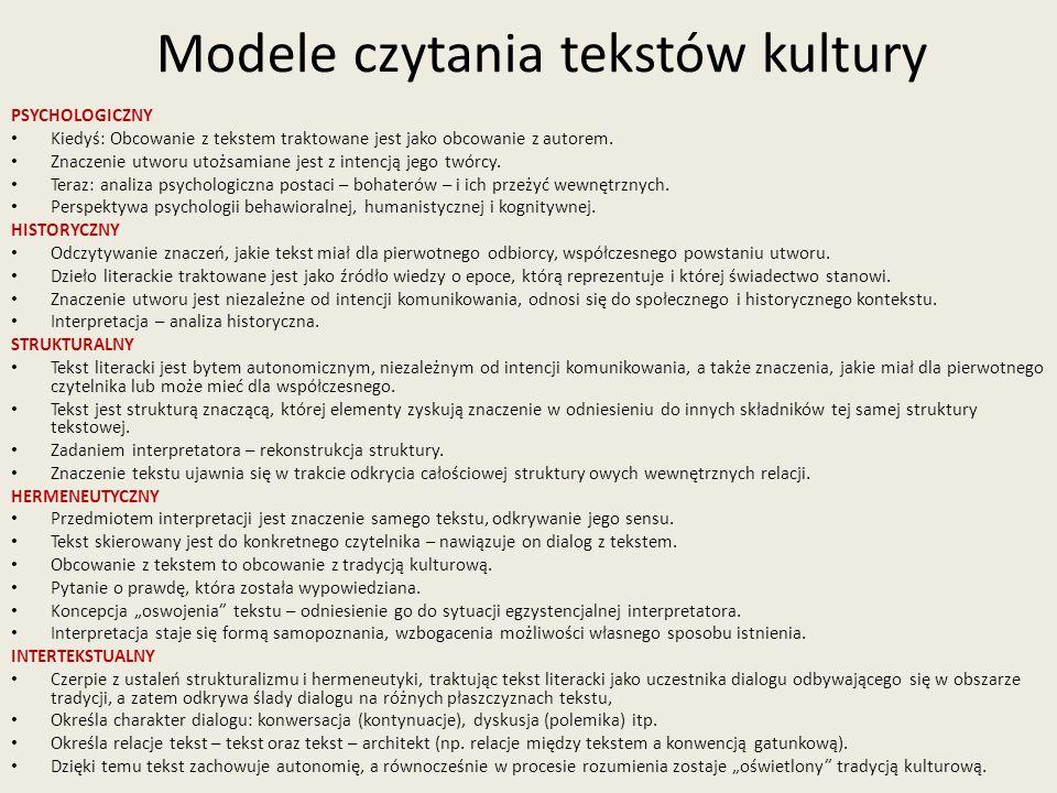Modele czytania tekstów kultury PSYCHOLOGICZNY Kiedyś: Obcowanie z tekstem traktowane jest jako obcowanie z autorem.