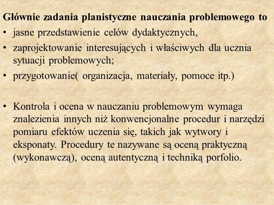 Głównie zadania planistyczne nauczania problemowego to jasne przedstawienie celów dydaktycznych, zaprojektowanie interesujących i właściwych dla uczni