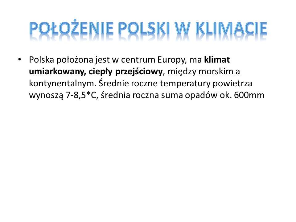 Polska położona jest w centrum Europy, ma klimat umiarkowany, ciepły przejściowy, między morskim a kontynentalnym. Średnie roczne temperatury powietrz