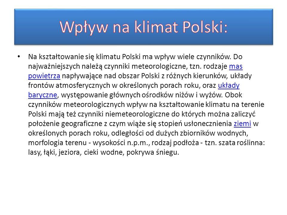 Na kształtowanie się klimatu Polski ma wpływ wiele czynników. Do najważniejszych należą czynniki meteorologiczne, tzn. rodzaje mas powietrza napływają