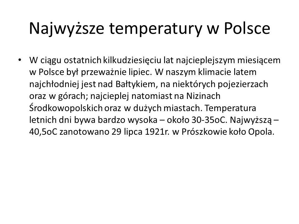 Najwyższe temperatury w Polsce W ciągu ostatnich kilkudziesięciu lat najcieplejszym miesiącem w Polsce był przeważnie lipiec. W naszym klimacie latem