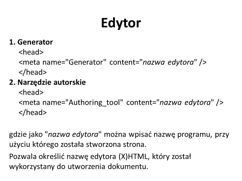 Edytor 1. Generator 2. Narzędzie autorskie gdzie jako
