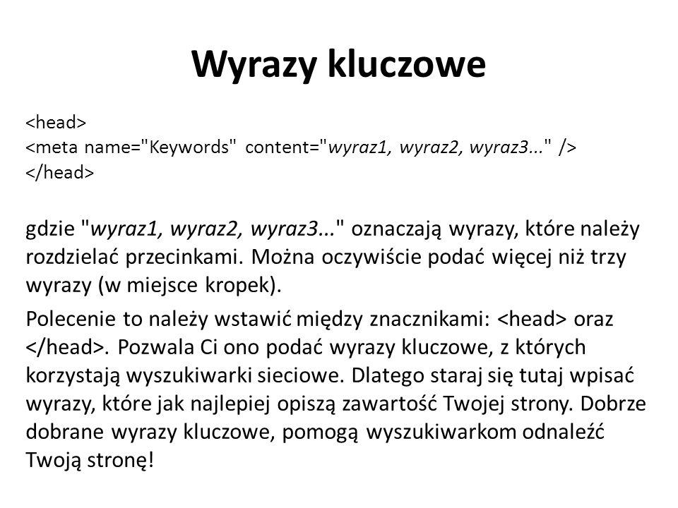Język strony gdzie jako język należy podać skrót nazwy wybranego języka.