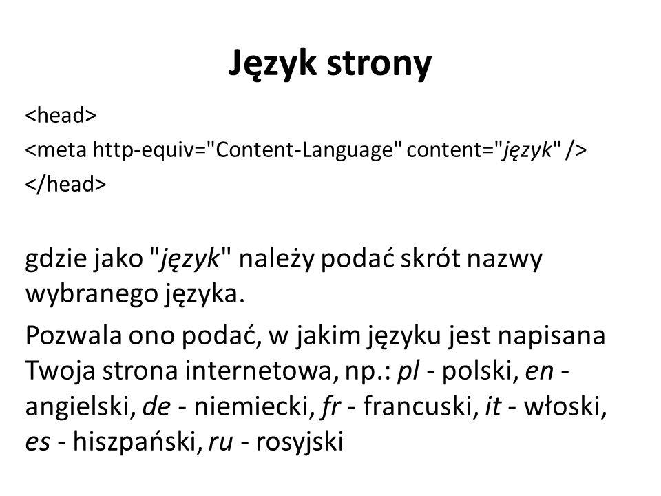 Język strony gdzie jako