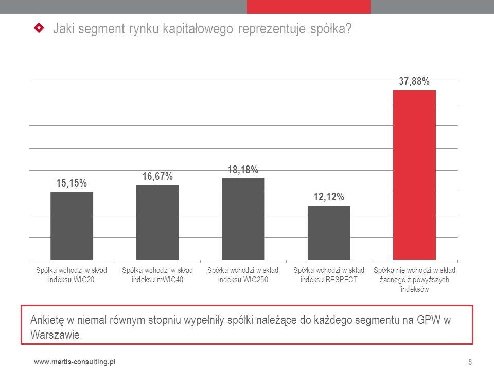 Jaki segment rynku kapitałowego reprezentuje spółka.
