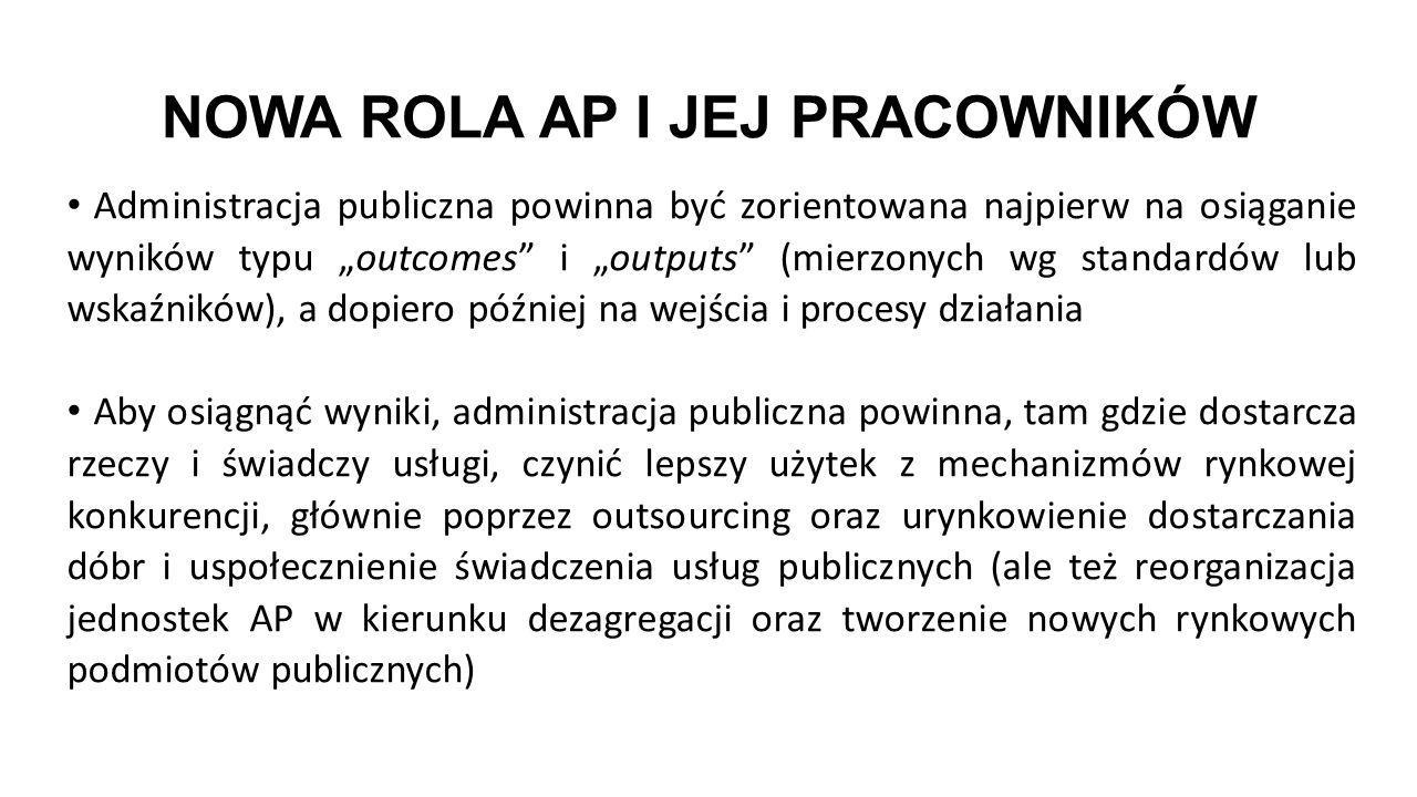 """NOWA ROLA AP I JEJ PRACOWNIKÓW Administracja publiczna powinna być zorientowana najpierw na osiąganie wyników typu """"outcomes"""" i """"outputs"""" (mierzonych"""
