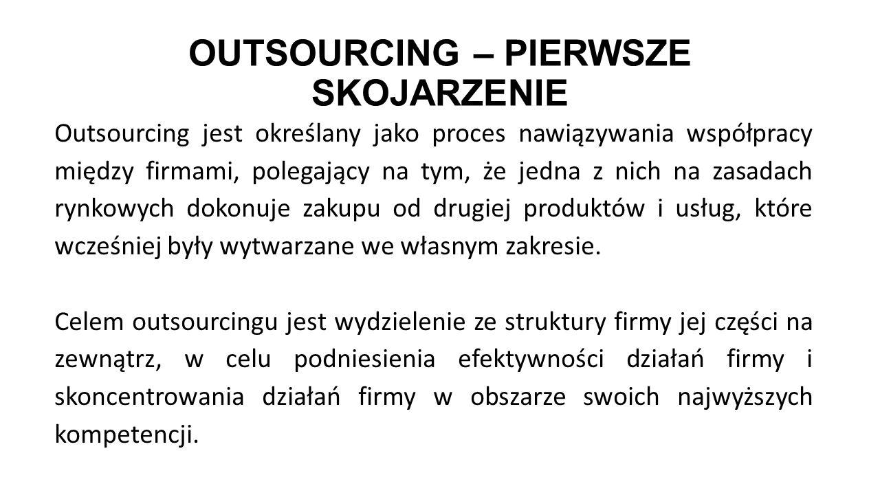OUTSOURCING – PIERWSZE SKOJARZENIE Outsourcing jest określany jako proces nawiązywania współpracy między firmami, polegający na tym, że jedna z nich n