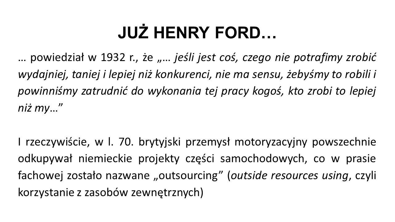 """JUŻ HENRY FORD… … powiedział w 1932 r., że """"… jeśli jest coś, czego nie potrafimy zrobić wydajniej, taniej i lepiej niż konkurenci, nie ma sensu, żeby"""