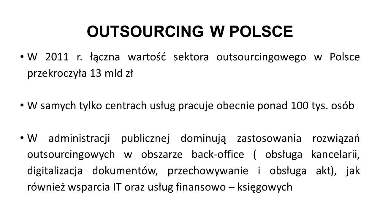 OUTSOURCING W POLSCE W 2011 r. łączna wartość sektora outsourcingowego w Polsce przekroczyła 13 mld zł W samych tylko centrach usług pracuje obecnie p