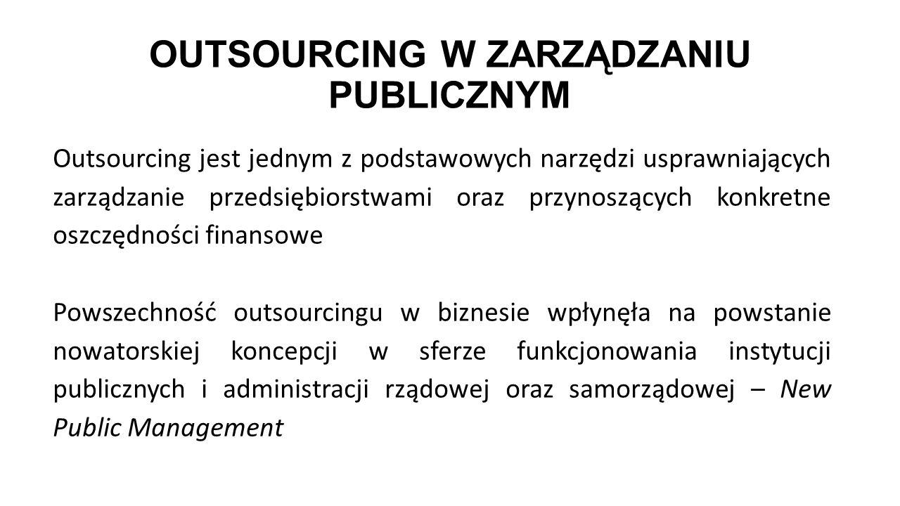 OUTSOURCING W ZARZĄDZANIU PUBLICZNYM Outsourcing jest jednym z podstawowych narzędzi usprawniających zarządzanie przedsiębiorstwami oraz przynoszących