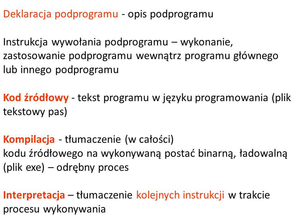 Deklaracja podprogramu - opis podprogramu Instrukcja wywołania podprogramu – wykonanie, zastosowanie podprogramu wewnątrz programu głównego lub innego