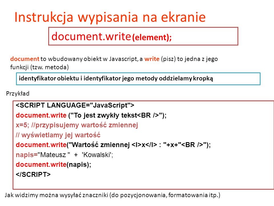 document.write (