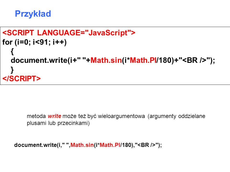 for (i=0; i<91; i++) { document.write(i+