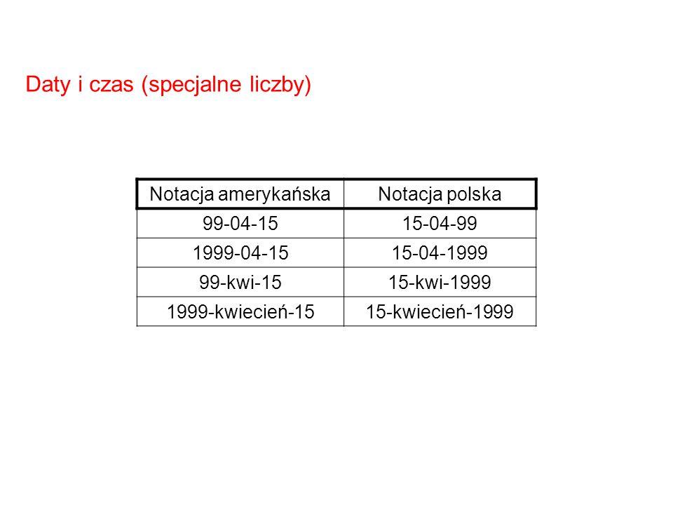 Notacja amerykańskaNotacja polska 99-04-1515-04-99 1999-04-1515-04-1999 99-kwi-1515-kwi-1999 1999-kwiecień-1515-kwiecień-1999 Daty i czas (specjalne l