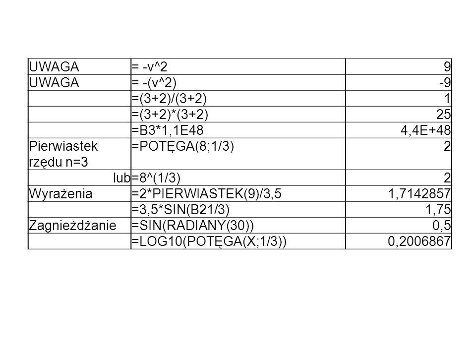 UWAGA= -v^29 UWAGA= -(v^2)-9 =(3+2)/(3+2)1 =(3+2)*(3+2)25 =B3*1,1E484,4E+48 Pierwiastek rzędu n=3 =POTĘGA(8;1/3)2 lub=8^(1/3)2 Wyrażenia=2*PIERWIASTEK