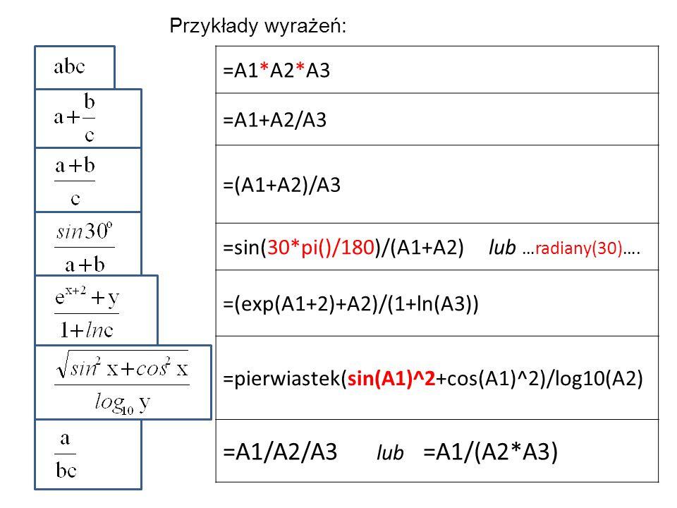 Przykłady wyrażeń: =A1*A2*A3 =A1+A2/A3 =(A1+A2)/A3 =sin(30*pi()/180)/(A1+A2) lub …radiany(30)…. =(exp(A1+2)+A2)/(1+ln(A3)) =pierwiastek(sin(A1)^2+cos(