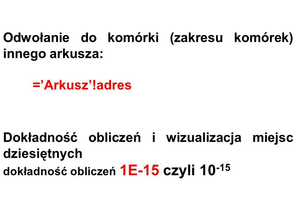Odwołanie do komórki (zakresu komórek) innego arkusza: ='Arkusz'!adres Dokładność obliczeń i wizualizacja miejsc dziesiętnych dokładność obliczeń 1E-1