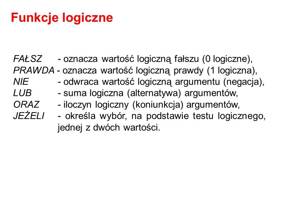FAŁSZ - oznacza wartość logiczną fałszu (0 logiczne), PRAWDA - oznacza wartość logiczną prawdy (1 logiczna), NIE- odwraca wartość logiczną argumentu (