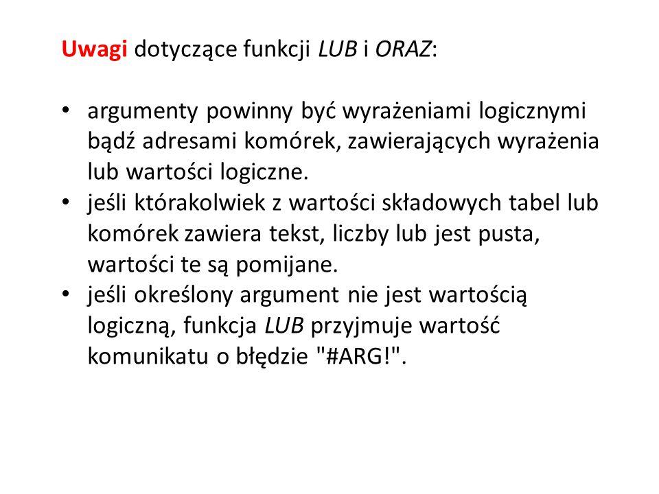 Uwagi dotyczące funkcji LUB i ORAZ: argumenty powinny być wyrażeniami logicznymi bądź adresami komórek, zawierających wyrażenia lub wartości logiczne.