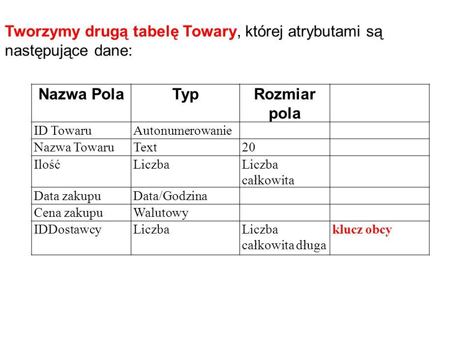 Tworzymy drugą tabelę Towary, której atrybutami są następujące dane: Nazwa PolaTypRozmiar pola ID TowaruAutonumerowanie Nazwa TowaruText20 IlośćLiczba