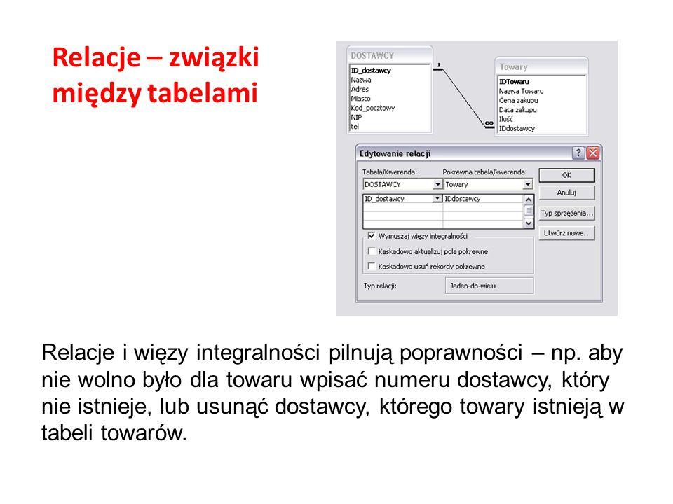 Relacje – związki między tabelami Relacje i więzy integralności pilnują poprawności – np. aby nie wolno było dla towaru wpisać numeru dostawcy, który