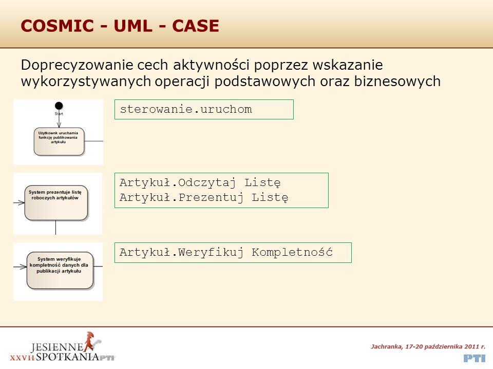 COSMIC - UML - CASE Doprecyzowanie cech aktywności poprzez wskazanie wykorzystywanych operacji podstawowych oraz biznesowych sterowanie.uruchom Artyku